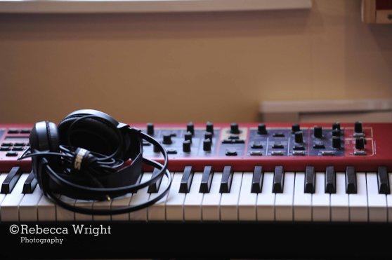 Keyboard and headphones